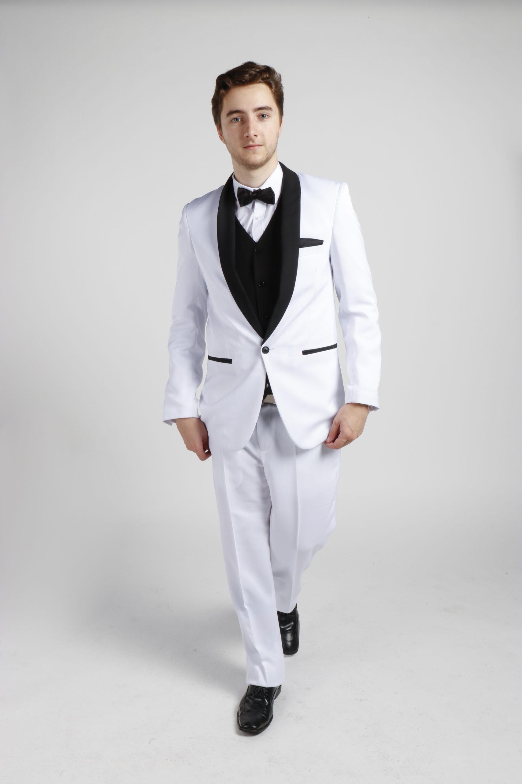White Tuxedo with Black Lapels (White Style)