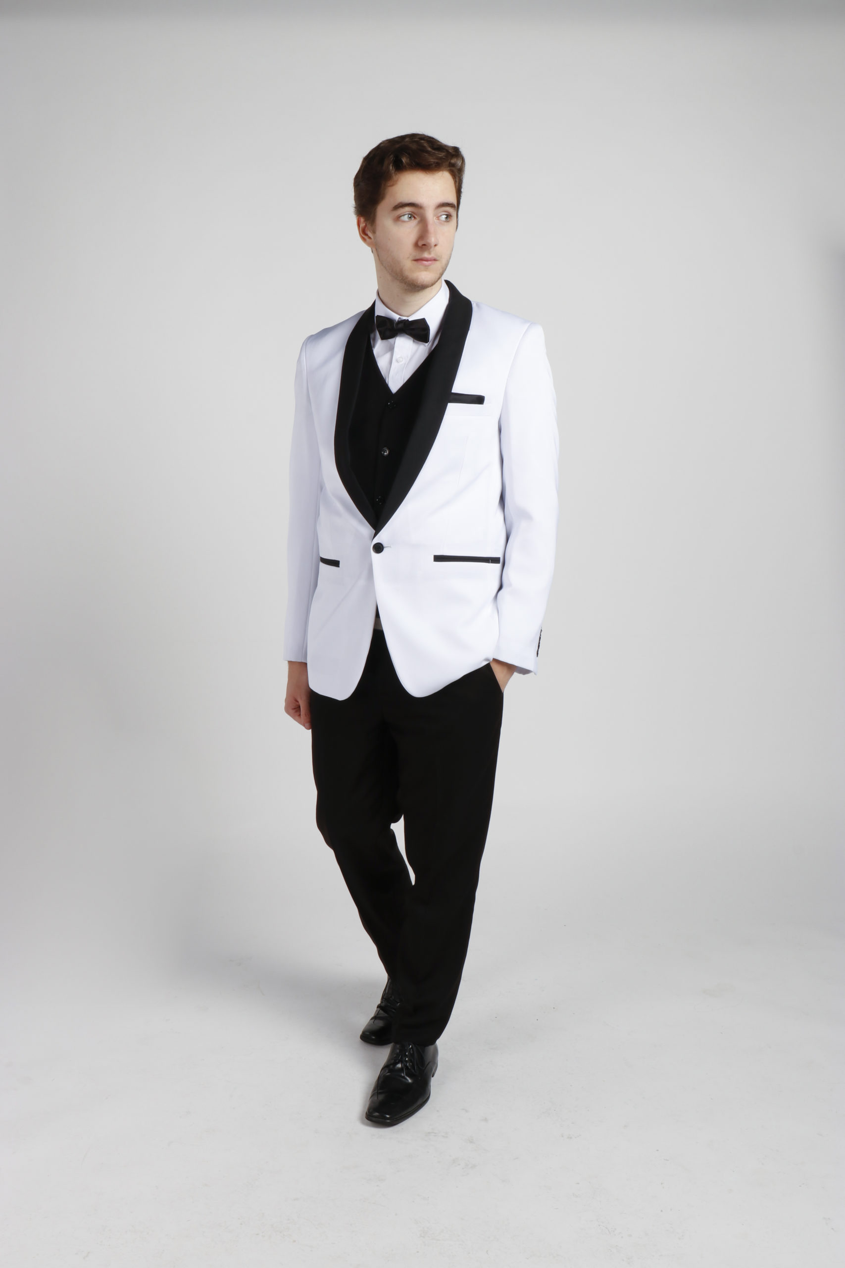White Tuxedo with Black Lapels Hire