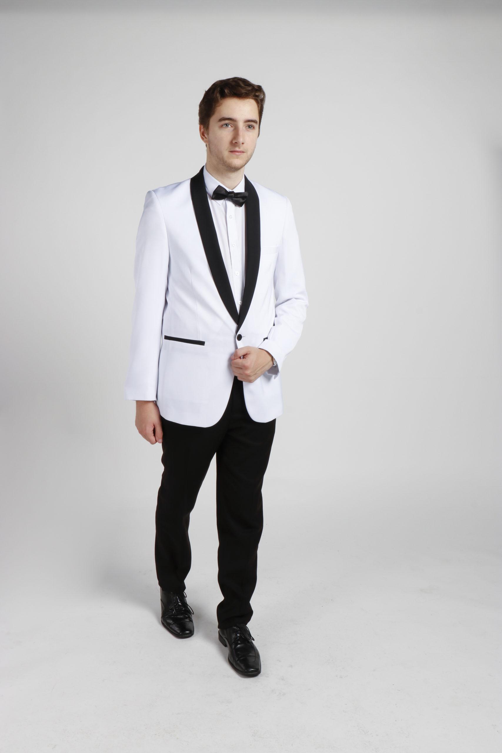 White Tuxedo with Black Lapels